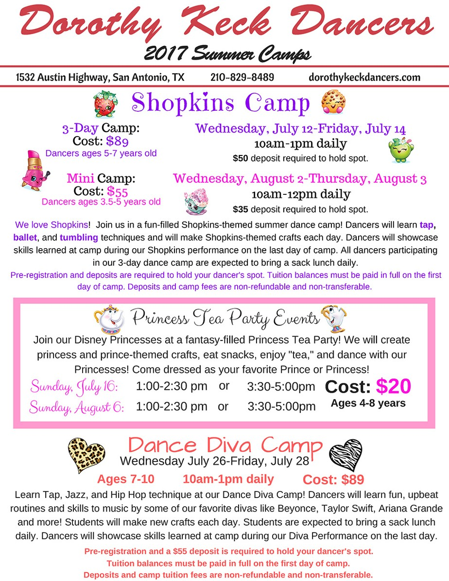 List of the 2017 Summer Camps