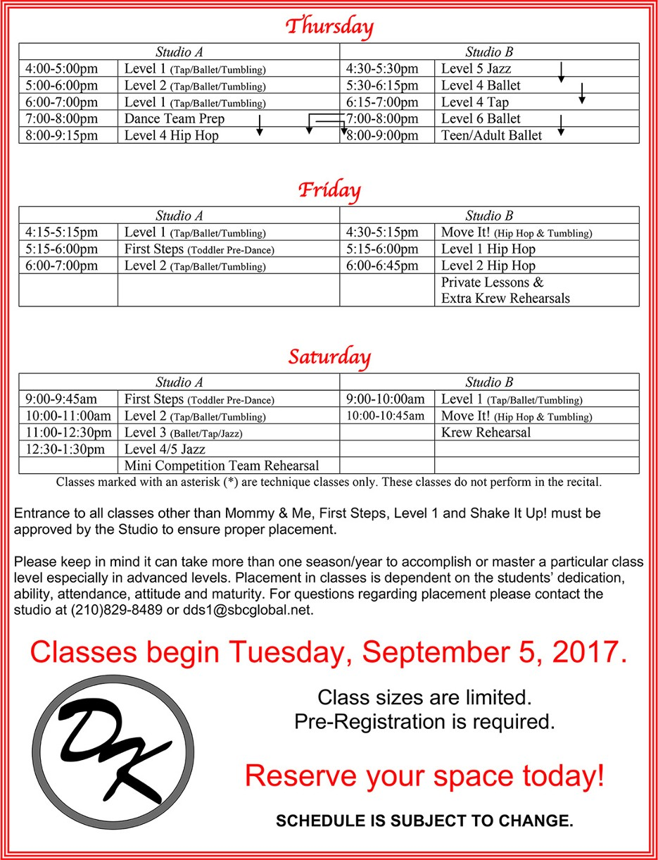 2017-2018 Fall/Spring Dance Schedule
